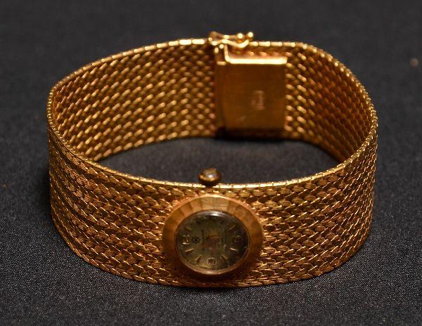 76da6fe4655 Relógio de pulso feminino da década de 50 em ouro 750 contrastado