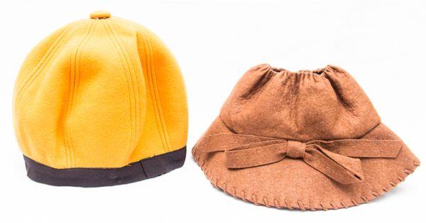 5d35da5161480 Lote contendo 1 gorro de feltro mostarda e barrado de fita preta e1 chapéu  de .