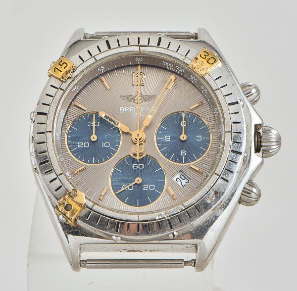 dc3307916bd Relógio masculino da marca Breitling tricompax 100 mts aço e ouro