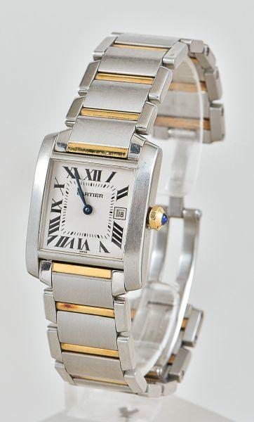 c972c26d249 Relógio da marca Cartier em aço e ouro com calendário