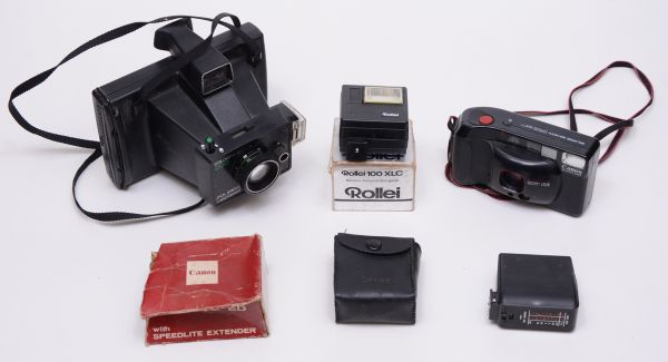 558122525d0 Lote de 2 câmeras fotográficas sendo  Canon quartz autofocus 38mm sure shot  - .