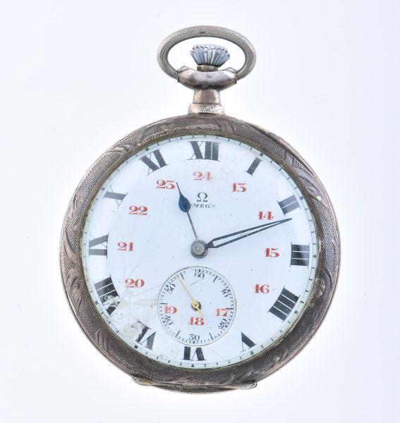 4c394e47507 OMEGA - Antigo relógio de bolso em prata de lei com mostrador em esmalte