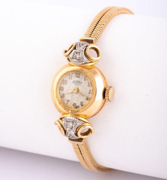 9cd1bf38fa7 Relógio de pulso feminino da década de 50 em ouro 18 K contrastado da marca