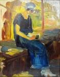 Pintura de Vol Breimer em o.s.t. datada de 1922. Pintor europeu que residiu em São Paulo. Obra com dedicatória e assinatura na parte superior direita da tela. Moldura entalhada com pátina envelhecida formando uma bela composição. Tela mede 35 x 28 cm e a moldura, 58 x 50 cm.
