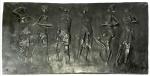 Carybé (atribuído) em bela placa de bronze retangular cinzelada com assinatura no c.i.d. Medidas; 43 x 80 cm.