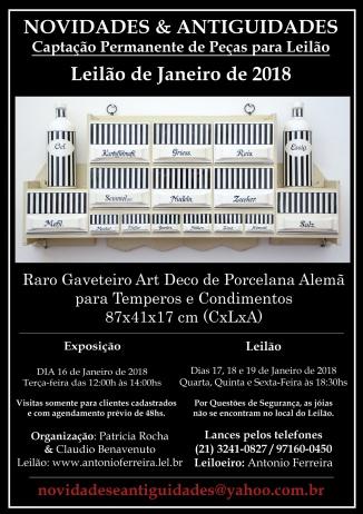 NOVIDADES E ANTIGUIDADES - LEILÃO DE JANEIRO DE 2018 - SOMENTE ON LINE