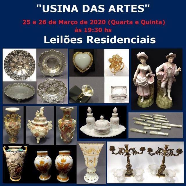31º LEILÃO USINA DAS ARTES - COM PEÇAS RESIDENCIAIS, ARTES, ANTIGUIDADES, COLECIONISMO E DECORAÇÃO