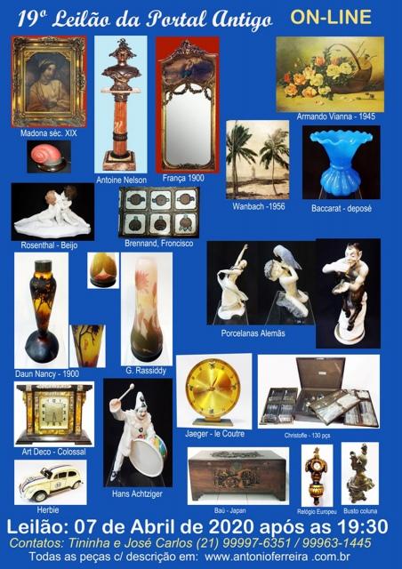 19º Leilão do Portal Antigo - Obras de Arte e peças de coleções  -  Somente ON LINE