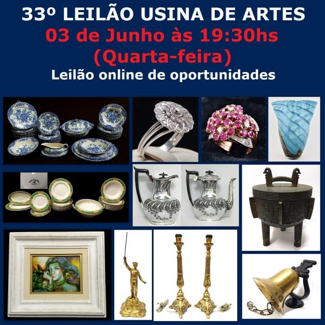 33º LEILÃO USINA DAS ARTES - COM PEÇAS RESIDENCIAIS, ANTIGUIDADES, COLECIONISMO, ARTES E DECORAÇÃO.