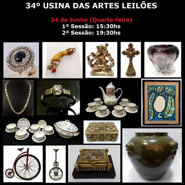 34º LEILÃO USINA DAS ARTES - COM PEÇAS RESIDENCIAIS, COLECIONISMO, ARTES, ANTIGUIDADES E DECORAÇÃO