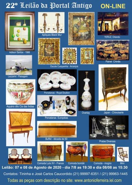 22º Leilão do Portal Antigo - Obras de Arte e peças de coleções  -  Somente ON LINE
