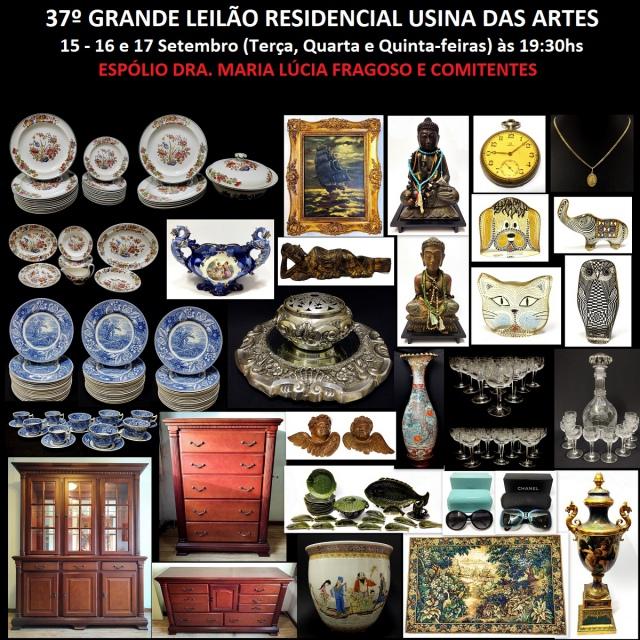 37º GRANDE LEILÃO RESIDENCIAL USINA DAS ARTES - ESPÓLIO DRA. MARIA LÚCIA FRAGOSO E COMITENTES