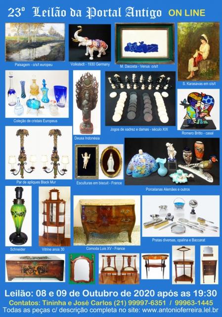 23º Leilão do Portal Antigo - Obras de Arte e peças de coleções  -  Somente ON LINE