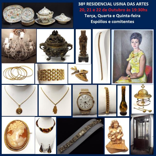 38º LEILÃO RESIDENCIAL USINA DAS ARTES - COM PEÇAS DE ARTES, COLECIONISMO, DECORAÇÃO E ANTIGUIDADES
