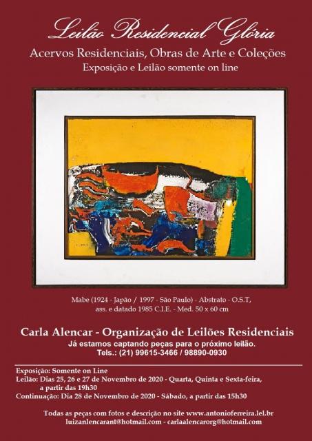 Leilão Residencial Glória - Acervos Residenciais, Obras de Arte e Coleções