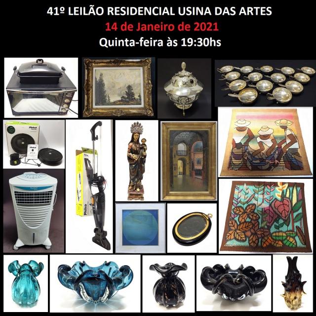 41º RESIDENCIAL USINA DAS ARTES - COM PEÇAS DE ARTES, ANTIGUIDADES, COLECIONISMO E DECORAÇÃO