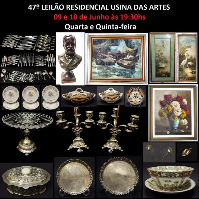 47º LEILÃO RESIDENCIAL USINA DAS ARTES - COM PEÇAS DE ARTES, PRATAS, JÓIAS E  ANTIGUIDADES