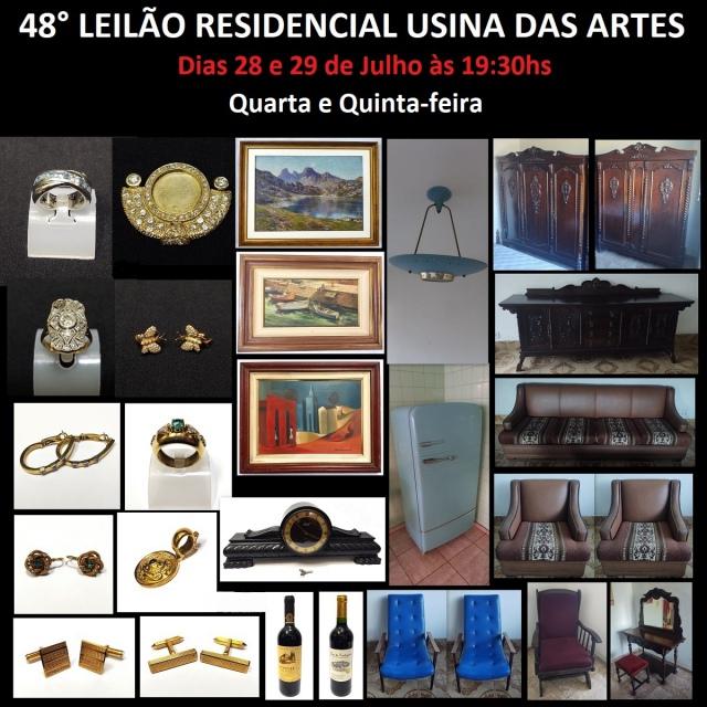 48º LEILÃO RESIDENCIAL USINA DAS ARTES - COM PEÇAS DE ARTES, COLECIONISMO, JÓIAS E DECORAÇÃO