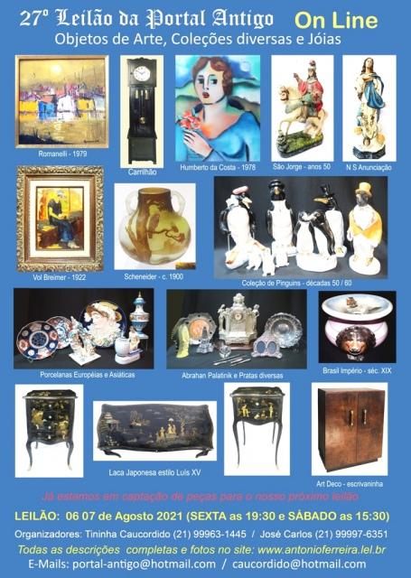 27º Leilão Portal Antigo - Objetos de Arte, Coleções diversas e Jóias - Somente ON-LINE