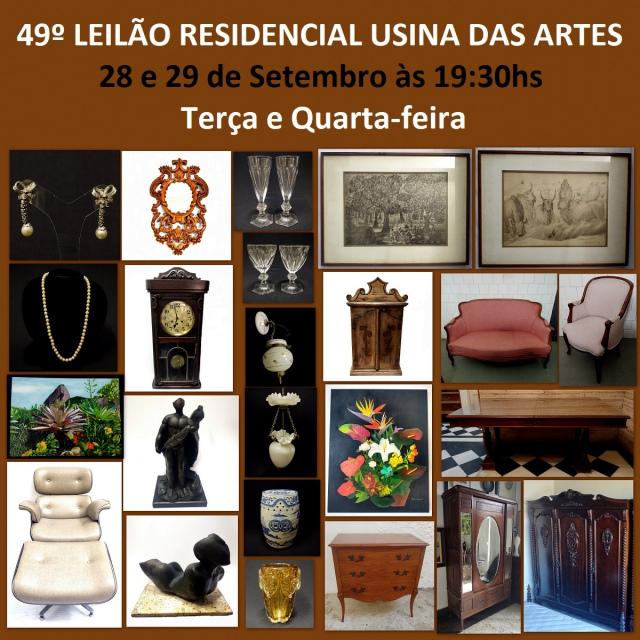 49º LEILÃO RESIDENCIAL USINA DAS ARTES - COM PEÇAS DE ARTES, PORCELANAS, JÓIAS E COLECIONISMO