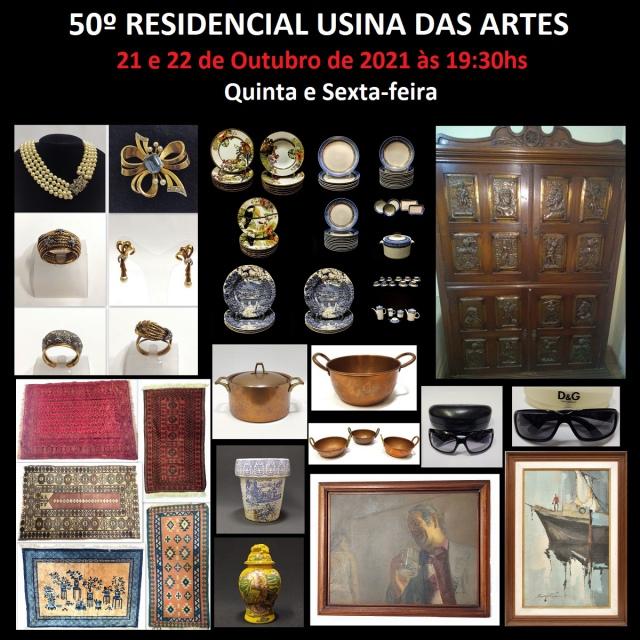 50º RESIDENCIAL USINA DAS ARTES - GRANDE LEILÃO COMEMORATIVO - JÓIAS, PORCELANAS E ANTIGUIDADES
